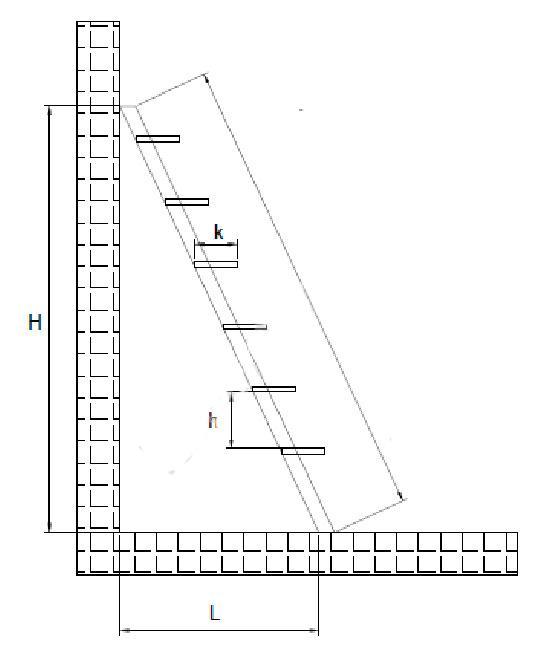 Схема для расчета подвальной лестницы