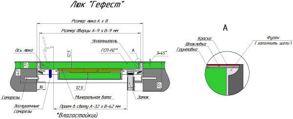 Монтажная схема люка ГЕФЕСТ EI-60